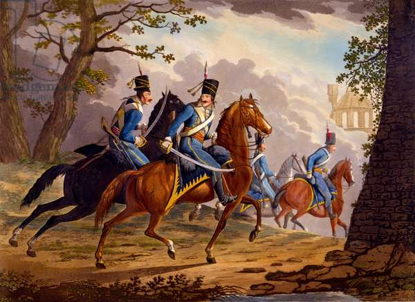 Austrian Hussars in pursuit of the enemy, 1799 (hand-coloured aquatint)