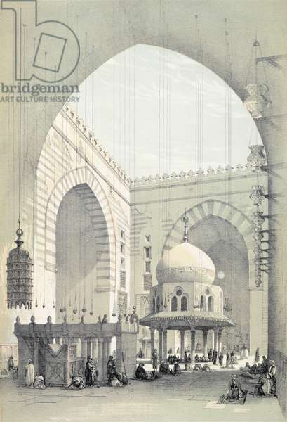 Interior of the Mosque of Sultan Hasan, in Cairo (litho)