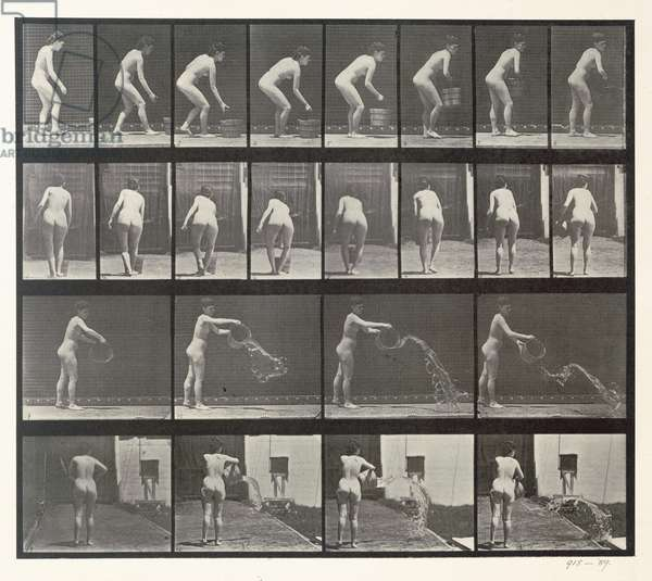 Woman throwing a bucket of water, plate 401 from 'Animal Locomotion', 1887 (b/w photo)
