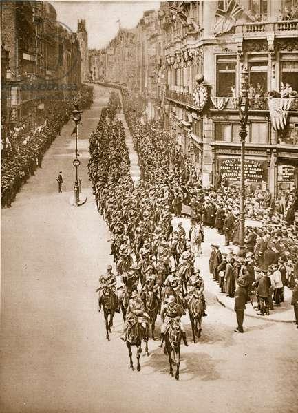 Anzac Day in London, 25th April 1919 (sepia photo)