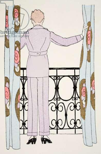 Woman in Trouser Suit at window (pochoir print)
