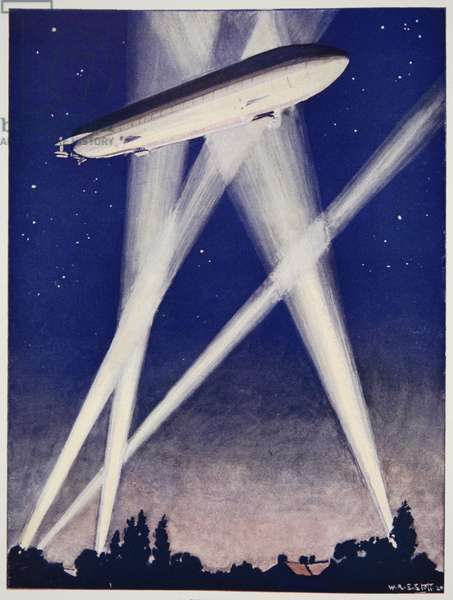 Zeppelin Raider, 1915/16, reproduced in 'The Outline of History: being a plain history of life and mankind' by H.G. Wells, London, 1929 (colour litho)