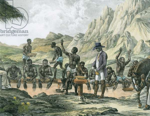 Negro slaves washing diamonds, Curralinho, from 'Atlas of a Journey in Brazil' by Johann Baptist von Spix (1781-1826) and Karl Friedrich Philipp Martius (1794-1868), published c.1835-50 (later colouration)