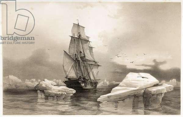 """Corvettte """"La Recherche"""" near Bear Island on 7th August, 1838,  from Voyages en Scandinavie, en Laponie, au Spitzberg et aux Feroe, pub. 1852 (engraving)"""