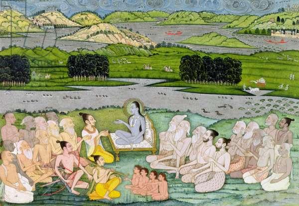 Shri Sukdevji preaching to a concourse of Sadhus, Rajasthan, c.1757 (gouache on paper)