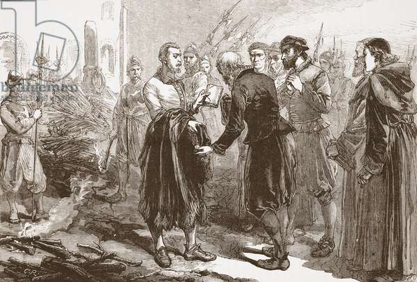 Parting of Patrick Hamilton from his friends at the stake, illustration from 'The History of Protestantism' by James Aitken Wylie (1808-1890), pub. 1878 (engraving)