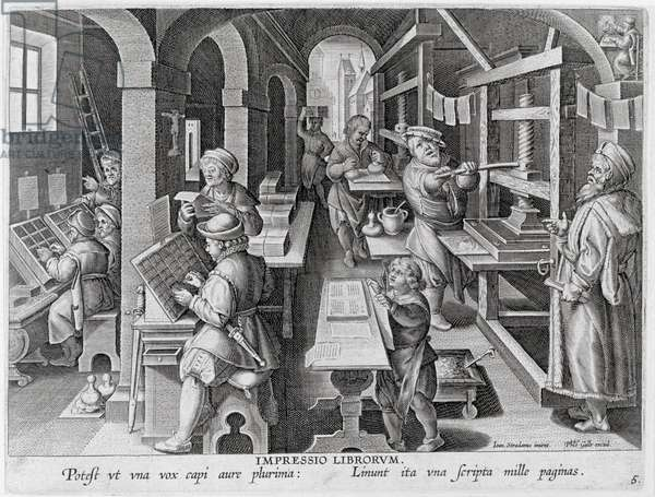 The Development of Printing, plate 5 from 'Nova Reperta' (New Discoveries) engraved by Philip Galle (1537-1612) c.1600 (engraving)