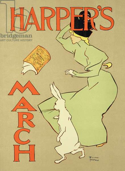 Reproduction of a poster advertising 'Harper's Magazine, March edition', American, 1894 (colour litho)
