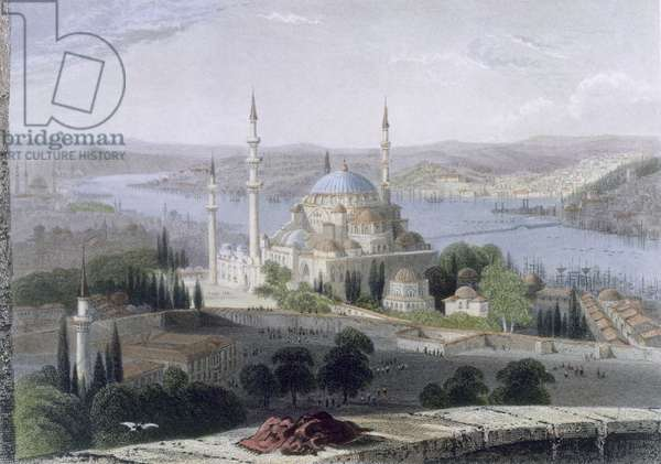 Mosque and Tomb of Suleiman, c.1850 (coloured aquatint)
