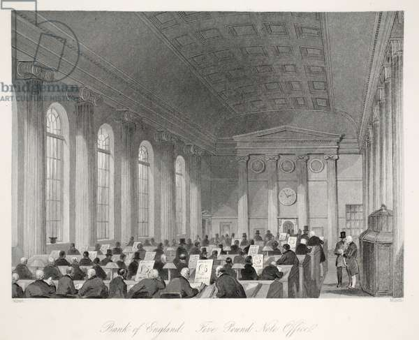 Bank of England - Five Pound Note Office, from 'London Interiors with their Costumes and Ceremonies' pub. Joseph Mead, London, c.1843 (steel engraving)