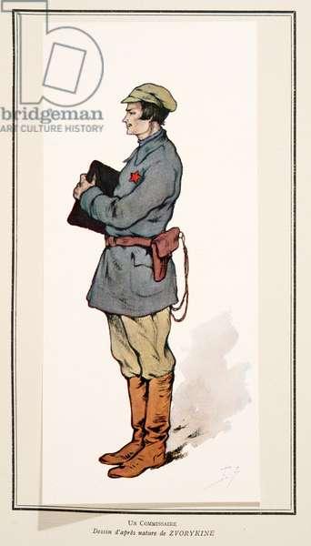 Commissar from Histoire des Soviets, pub. 1922 (colour litho)