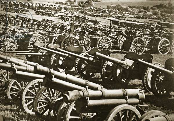 Almost immeasurable amounts of weapons and military equipment fell into the victors' hands after the hasty French withdrawal, 1940 (b/w photo)