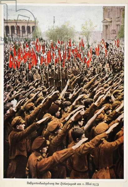 Lustgarten Rally of the Hitler Youth on 1st May 1933, from 'Germany Awakened' (colour litho)