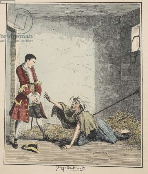 Jack Sheppard visits his Mother in Bedlam, illustration from 'Jack Sheppard: A Romance' by William Harrison Ainsworth, published 1839 (hand coloured etching)