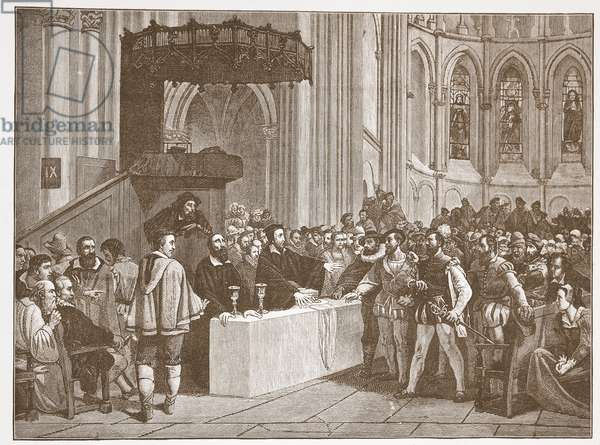 Calvin refusing the Lord's Supper to the Libertines, in St. Peter's Cathedral, Geneva, illustration from 'The History of Protestantism' by James Aitken Wylie (1808-1890), pub. 1878 (engraving)