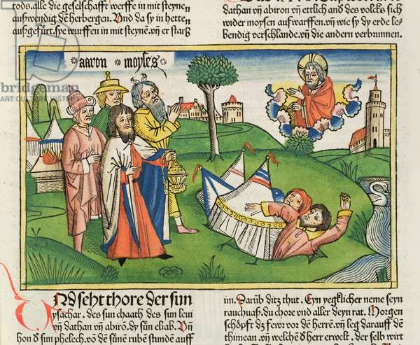 Numbers 16 32 The Earth swallows the rebels Dathan and Abiram, from the 'Nuremberg Bible (Biblia Sacra Germanaica)' (coloured woodcut)