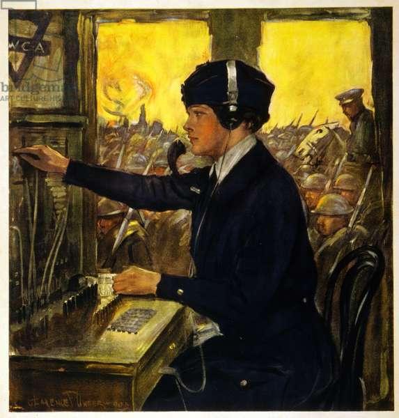 YWCA Telephone Operator, c.1918 (colour litho)