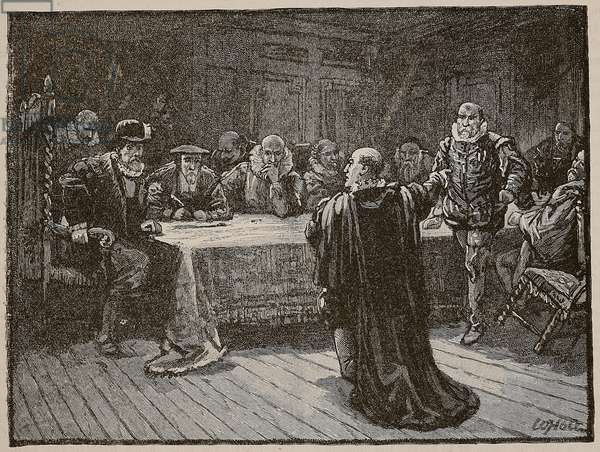 The Earl of Arran accusing Morton of the murder of Darnley, illustration from 'Cassell's Illustrated History of England' (engraving) (sepia photo)
