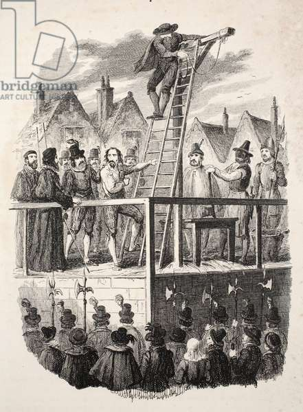 """Execution of Guy Fawkes,  Illustration from """"Guy Fawkes, or the Gunpowder Treason: an Historical Romance"""", by William Harrison Ainsworth, pub. 1841 (engraving)"""