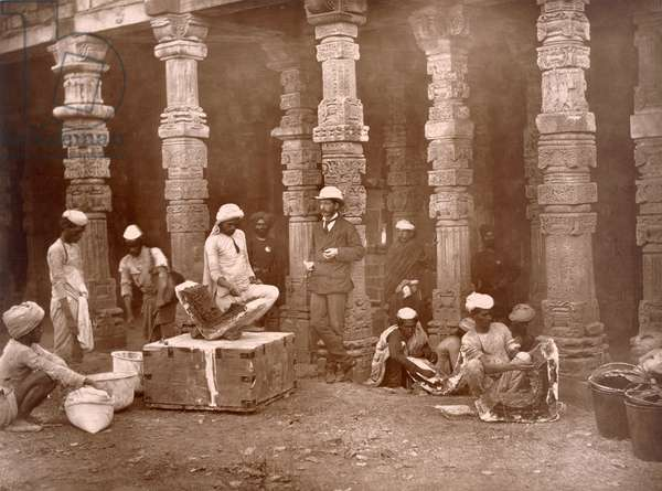 Group of Moulders at work at the Kutb, (b/w photo)