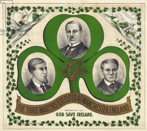 The Three Martyrs Executed At Manchester, England: God Save Ireland, published c.1893 (colour litho)