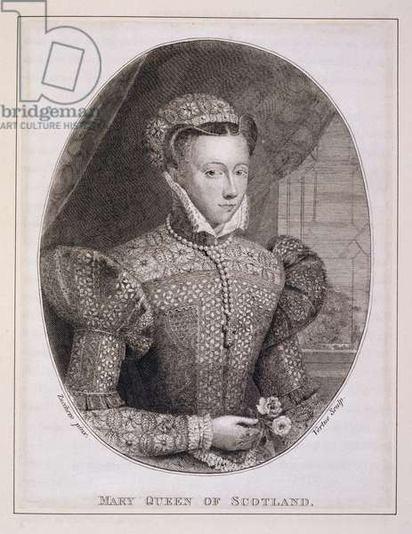 Mary Queen of Scots (1542-87), engraved by George Vertue (1684-1756) (engraving)