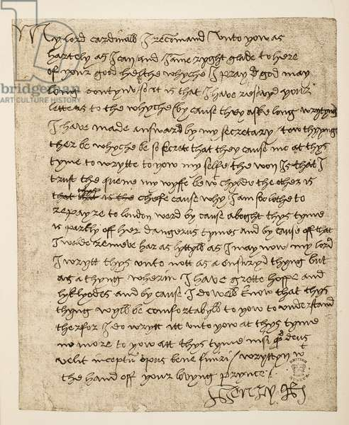 Facsimile of a letter from Henry VIII to Cardinal Wolsey dated July 1518, pub. 1902 (collotype)