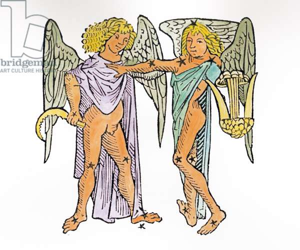 Gemini (the Twins) an illustration from the 'Poeticon Astronomicon' by C.J. Hyginus, Venice, 1485 (woodcut) (later colouration)