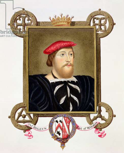 Portrait of Thomas Boleyn (1477-1539) Earl of Wiltshire from 'Memoirs of the Court of Queen Elizabeth', after a drawing by Hans Holbein (1497-1543) in the Royal Collection, published in 1825 (w/c and gouache on paper)