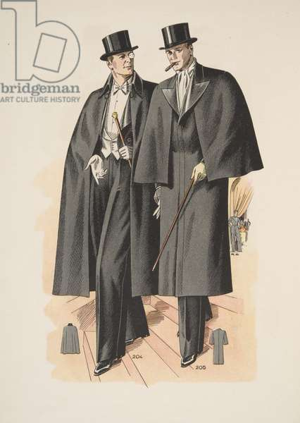 Formal Evening Overcoats, from Mode Officielle, pub. 1936 (colour litho)
