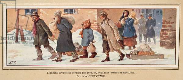 Soviet Workers leaving the office with their food rations, from Histoire des Soviets, pub. 1922 (colour litho)