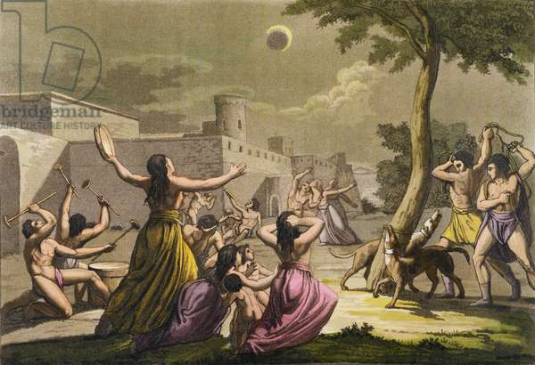 Terror of the Peruvians during an eclipse of the moon, from 'Le Costume Ancien et Moderne', Volume I, plate 19, by Jules Ferrario, published c.1820s-30s (colour engraving)
