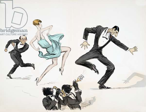 Two men in black tie and woman in bright blue dress dance to two musicians playing jazz on brass instruments, from 'White Bottoms', pub. 1927 (colour block print)