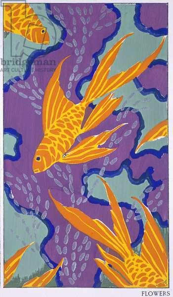 Design motif from 'Bouquets et Frondaisons, 60 Motifs en couleur', published Paris, late 1920s (pochoir print)