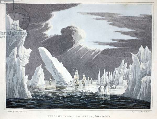 Passage through the Ice, 16th June 1818, illustration from 'A Voyage of discovery...', 1819 (litho)
