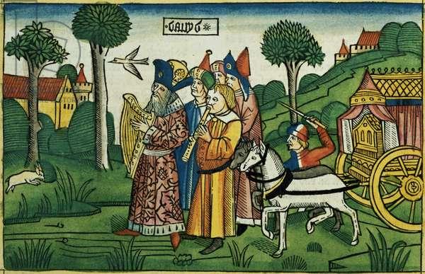 2 Samuel 6 1-5 David brings the Ark to Jerusalem, from the 'Nuremberg Bible (Biblia Sacra Germanaica)' (coloured woodcut)