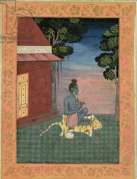 Aged ascetic seated on a tiger skin outside a building, from the Large Clive Album, c.1670