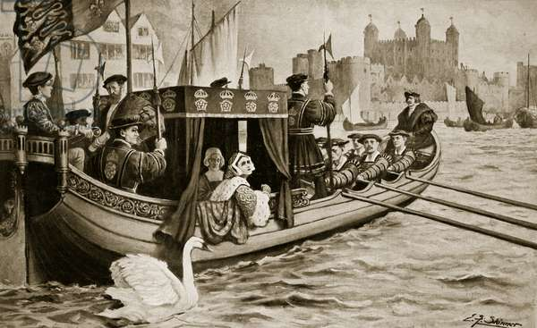 Catherine Howard is conveyed to the tower, illustration from 'Hutchinson's Story of the British Nation', c.1923 (litho)
