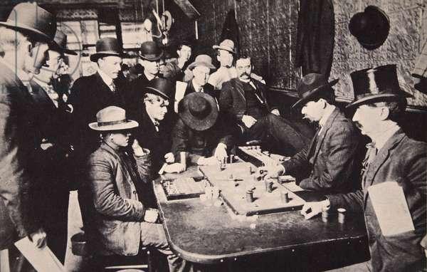 Playing Faro in the Orient Saloon at Bizbee, Arizona, 1903 (b/w photo)