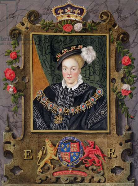 Portrait of Edward VI (1537-53) King of England, aged about 14 from 'Memoirs of the Court of Queen Elizabeth' after a miniature in the Royal Collection by Nicholas Hilliard (1537-1619), published in 1825 (w/c and gouache on paper)