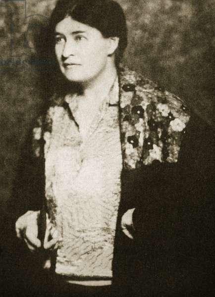 Willa Cather, American novelist (b/w photo)