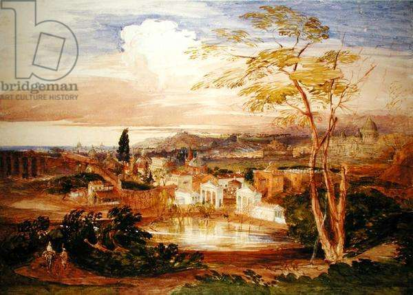 Rome from the Borghese Gardens, 1837 (w/c on paper)