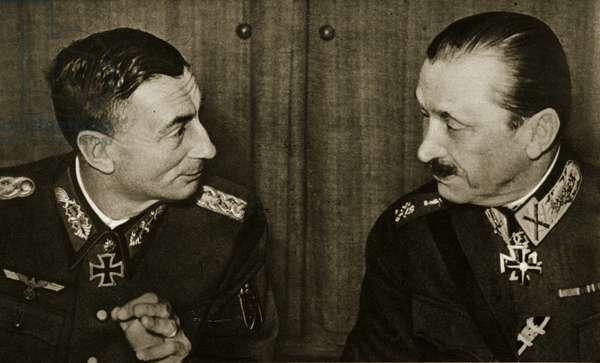 General Dietl and Finnish Field Marshal Baron Mannerheim, 1941 (b/w photo)