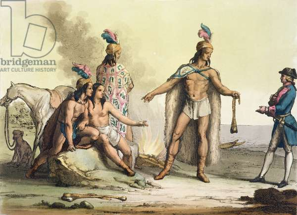 Indians of Patagonia, Chile, greeting a European traveller, from 'Le Costume Ancien et Moderne', Volume II, plate 38, by Jules Ferrario, published c.1820s-30s (colour litho)
