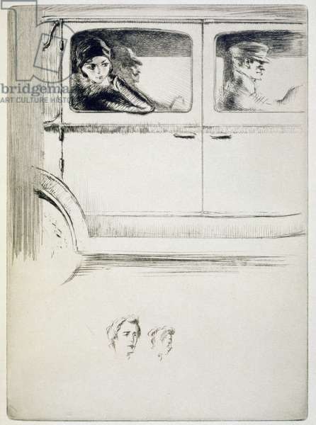 A couple in a chauffeur driven car, illustration for 'Mitsou' by Sidonie-Gabrielle Colette (1873-1954) published 1930 (etching & drypoint)