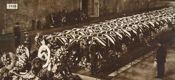 Victims of R.101 airship accident, lying in state in Westminster Hall, October 10, 1930 (b/w photo)