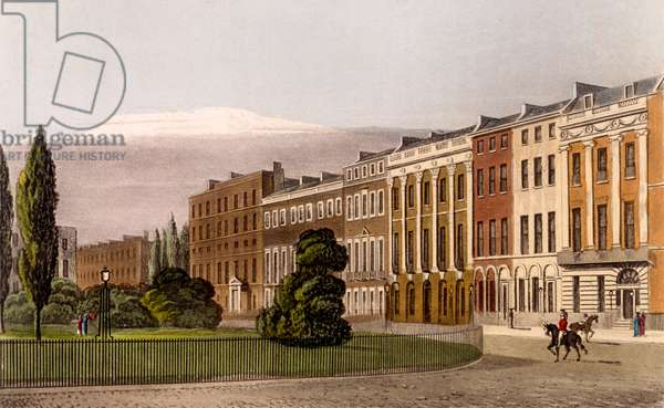 View of Portman Square, North Side, 1816 (engraving and aquatint)