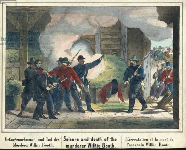 Seisure and death of the murderer Wilkie Booth, pub. 1865 (hand-coloured engraving)
