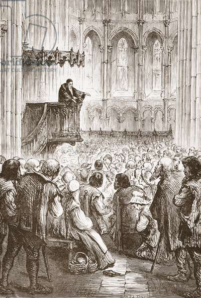 Calvin preaching his farewell sermon in expectation of banishment, illustration from 'The History of Protestantism' by James Aitken Wylie (1808-1890), pub. 1878 (engraving)