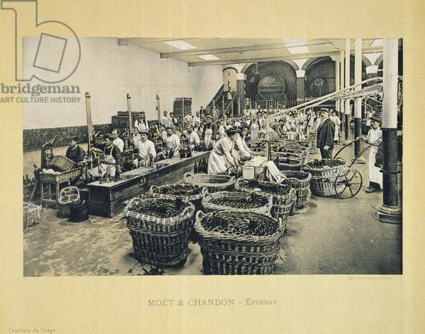Bottling champagne, from 'La France Vinicole', published by Moet & Chandon, Epernay (photolitho)